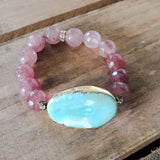 29mm blue agate gemstone oval gold trimmed w 12mm strawberry quartz beads vintage rhinestones bracelet