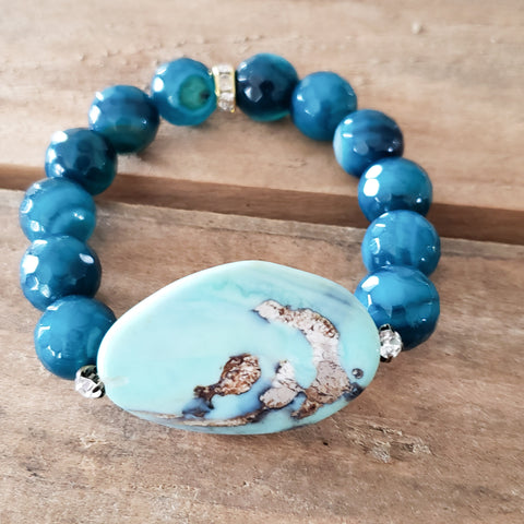35mm lt. blue druzy agate center cobalt blue agate beads bracelet