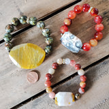 gemstone cneter slabs and beads quality stretch bracelets