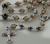 Smoke crystal rosary with crucifix