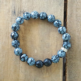 Protection Bracelet by Marinella 10mm snowflake Obsidian
