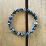 Protection Bracelet by Marinella 8mm snowflake Obsidian