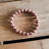 rose gold metallic lava stone protection bracelets 8mm round