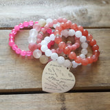 cupids blush protection stone stretch bracelets w I love you heart