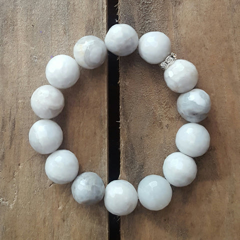 white grey crazy lace agate stone protection intention stretch bracelet 14mm