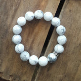black white howlite stone protection intention stretch bracelet 12mm
