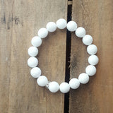 white jade facetted stone protection intention stretch bracelet 10mm