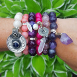 protection bracelts by Marinella stack of six 10mm to 12mm beads variety colors and charms