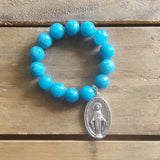 protection bracelet teal jade 14mm XL silver tone oval Mary Miraculous medal