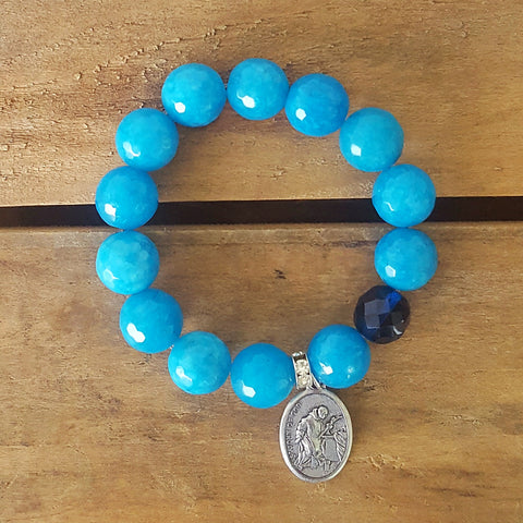 "Protection bracelets by Marinella 12mm & 14mm Teal jade dark aqua Czech prayer bead 1"" pewter oval St. John of God medal"