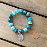 "protection bracelet by Marinella jewelry 12mm jade teal stripes quality stretch w pewter oval 1"" medal saint Mathew"