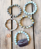 50mm Picasso jasper gemstone slab 10mm turquoise agate beads vintage rhinestones bracelet collection