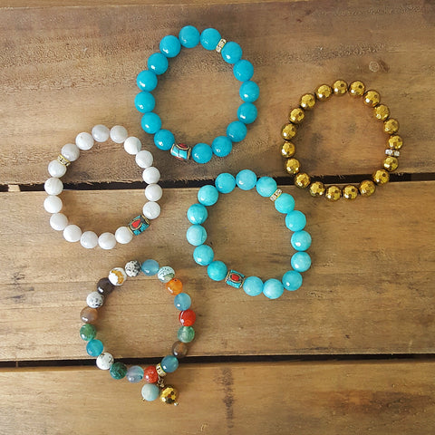 Protection Bracelets by Marinella Tibetan brass handmade beads mixed with Jade 10mm 12mm beads collection
