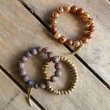 set of 3 protection bracelets brass horn gold hema third eye agate