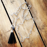 Protection Necklace crystal rosary chain w black sueded tassel & protection stones removeable pendant