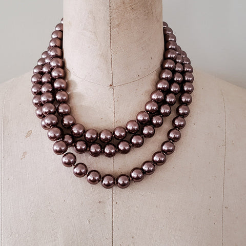 12mm triple layered cashmere brown round glass pearl beads handmade necklace