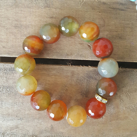 protection bracelet by Marinella 14mm orange green jade beads