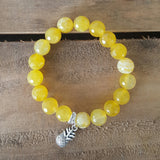 protection bracelet by Marinella 10mm yellow fire agate beads pewter pineapple charm