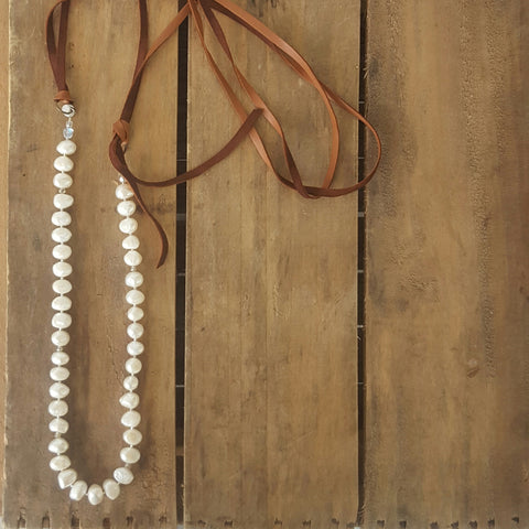"Marinella jewelry necklace 12mm freshwater pearls buttery double leather straps 42"" long necklace"
