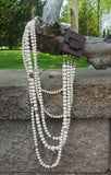 5 strand layered vanilla champagne crystals large wooden clasp necklace