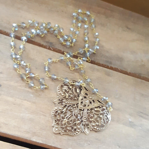 glamou necklace rare vintage brass filigree pendant long crystal rosary chain
