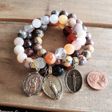 beaded gemstone bracelets with vintage religious medals St. Mary, Jesus & St. Christopher