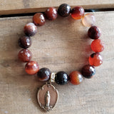 beaded agate gemstone bracelet with vintage religious Miraculous Mary medal