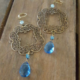 "earrings by Marinella jewelry vintage brass filigree squares blue tear drop glass & 4mm Swarovski crystal butterfly ears total 4"" long"