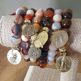 "six protection bead bracelets stacked 1"" 1.5""vintage bronze medals on 10mm 12mm bead bracelets"