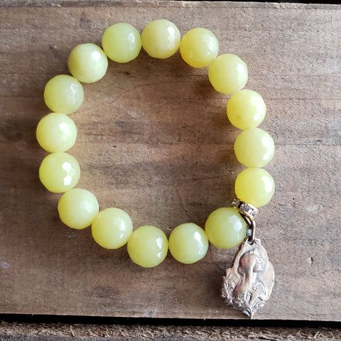 handmade 12mm olive jade gemstone bead bracelet with vintage religious Joan of Arc medal