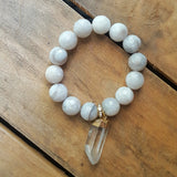 "protection bracelet by Marinella 14mm white crazy lace agate w 1.5"" gold dipped crystal quartz point charm"
