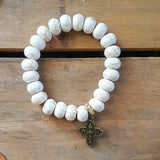 "protection bracelet by Marinella 12mm oval white howlite beads mini 1"" 4 way cross medal"