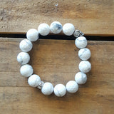 Protection Bracelet by Marinella 12mm white marbled Howlite w 8mm pewter skull bead