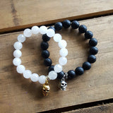powder jade and jet agate stone bracelets skull charms