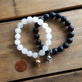 powder jade and jet agate stone bracelets skull charms penny