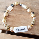 gold mixed beads word bar FRIEND handmade quality stretch bracelet