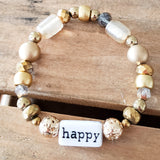 gold mixed beads word bar HAPPY handmade quality stretch bracelet