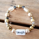 gold mixed beads word bar LAUGH handmade quality stretch bracelet