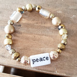 gold mixed beads word bar PEACE handmade quality stretch bracelet