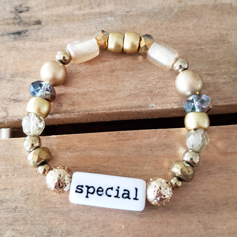 gold mixed beads word bar SPECIAL handmade quality stretch bracelet