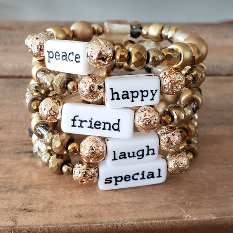gold mixed beads word bars quality stretch handmade bracelets