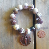 "Protection Bracelet by Marinella 14mm zebra jasper smooth beads 1.5"" round copper Our Lady of Grace medal"