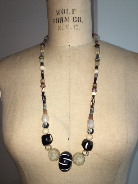 Elongated African Beaded Necklace