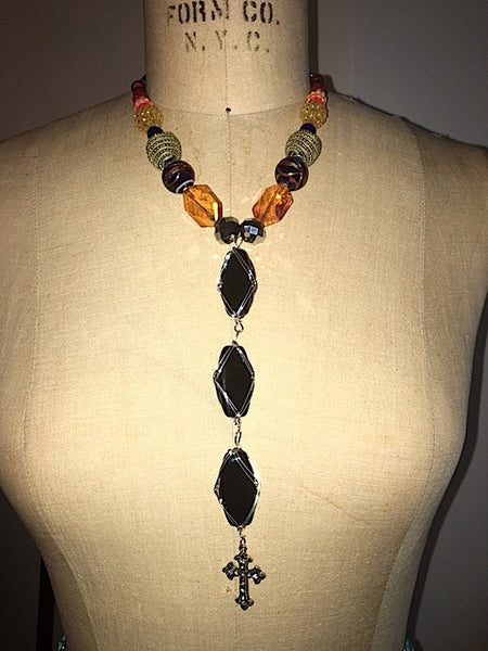 Jeweled Rhinestone and Faux Onyx Stone Cross Necklace
