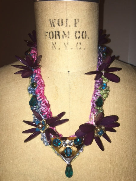 Sheila Gray Collection Purple Passion Flower Pedal Necklace