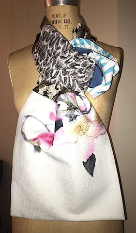 Floral pastel and black and white embroidered lace scarf