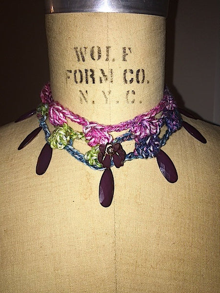Hand Crocheted multi colored purple pedal choker