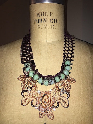 Rose Gold faux and real bronze leather necklace