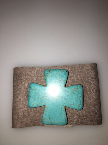 Leather Cuff with Marble Turquoise Cross Accent
