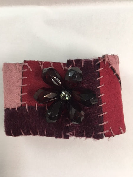 Jewel Patchwork Faux Fur Cuff